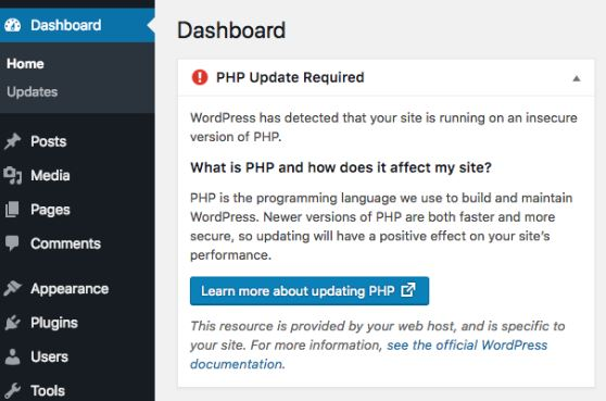 WordPress 5.1 PHP warning